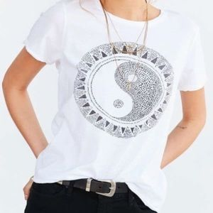 urban outfitters white ying yang graphic tee